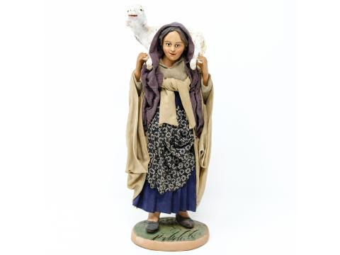 Donna con Pecora in Spalla - Fisse Vestite - 20 cm